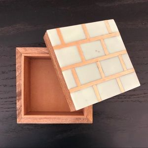 Mint and Gold wooden Inlaid Box NWT